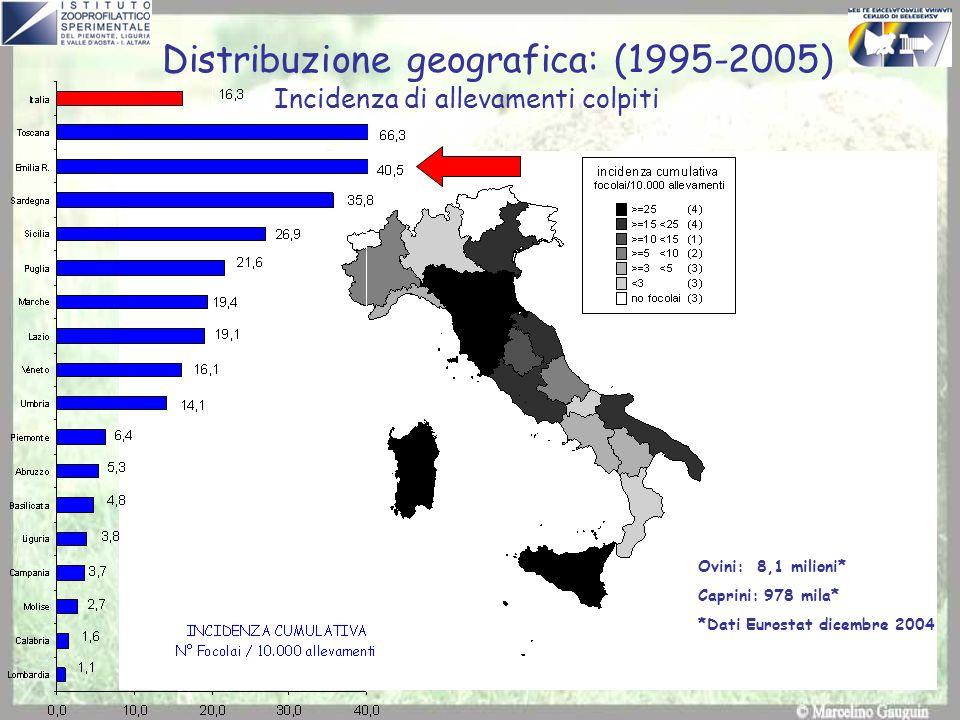 Distribuzione geografica: (1995-2005)