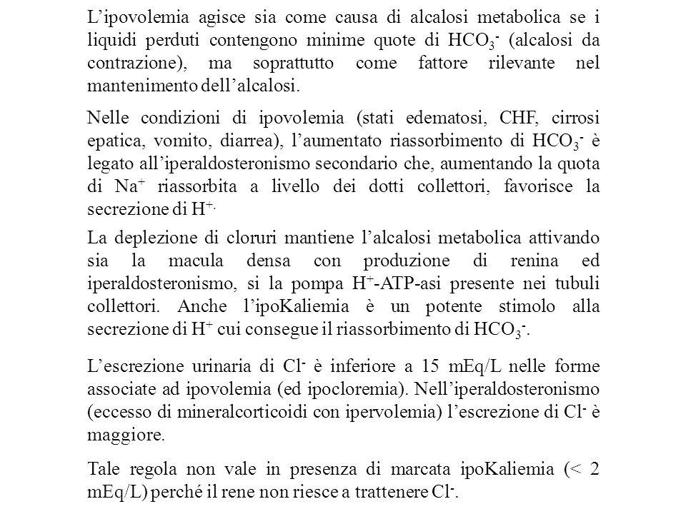 L'ipovolemia agisce sia come causa di alcalosi metabolica se i liquidi perduti contengono minime quote di HCO3- (alcalosi da contrazione), ma soprattutto come fattore rilevante nel mantenimento dell'alcalosi.