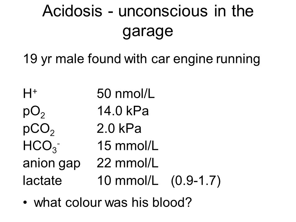Acidosis - unconscious in the garage