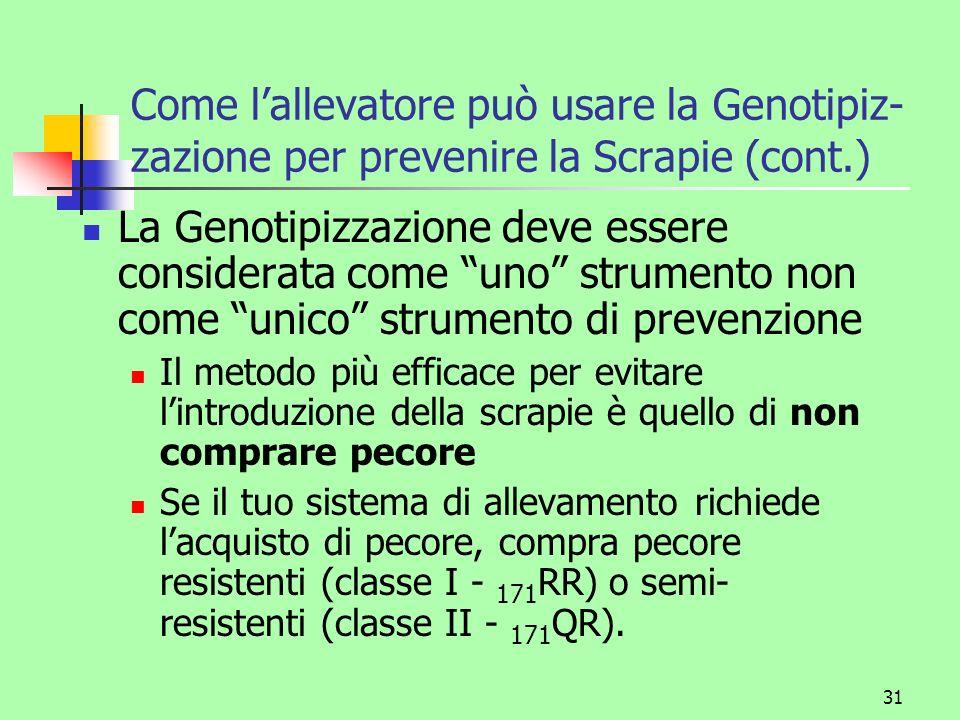 Come l'allevatore può usare la Genotipiz-zazione per prevenire la Scrapie (cont.)