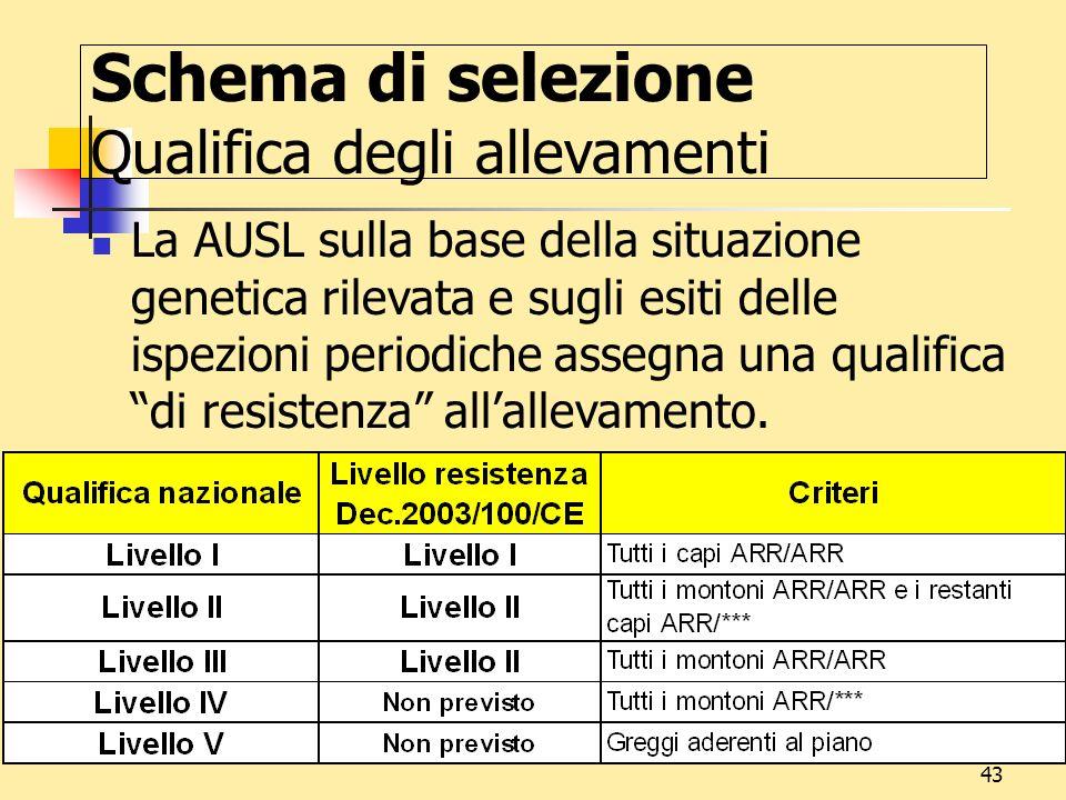 Schema di selezione Qualifica degli allevamenti