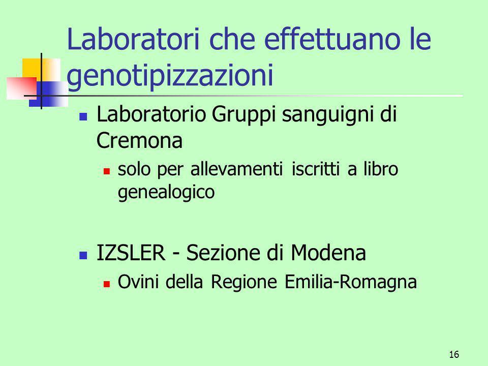 Laboratori che effettuano le genotipizzazioni