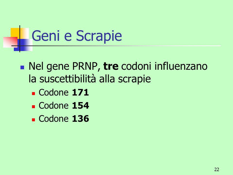Geni e Scrapie Nel gene PRNP, tre codoni influenzano la suscettibilità alla scrapie. Codone 171. Codone 154.
