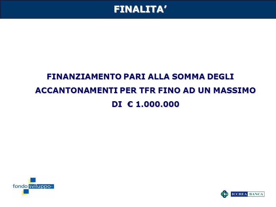 FINALITA' FINANZIAMENTO PARI ALLA SOMMA DEGLI ACCANTONAMENTI PER TFR FINO AD UN MASSIMO DI € 1.000.000.