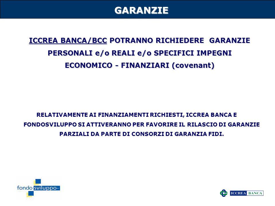 GARANZIE ICCREA BANCA/BCC POTRANNO RICHIEDERE GARANZIE PERSONALI e/o REALI e/o SPECIFICI IMPEGNI ECONOMICO - FINANZIARI (covenant)