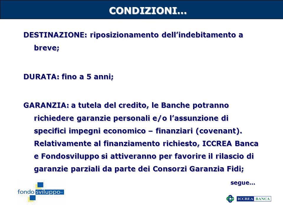 CONDIZIONI… DESTINAZIONE: riposizionamento dell'indebitamento a breve;
