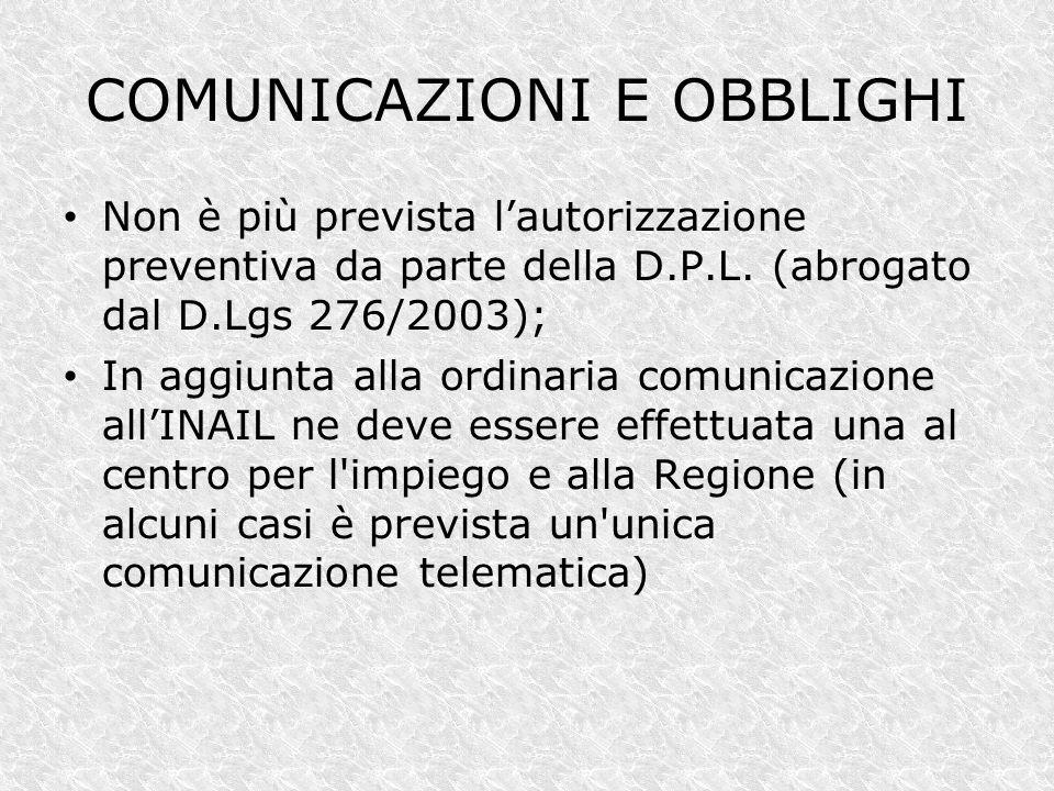 COMUNICAZIONI E OBBLIGHI