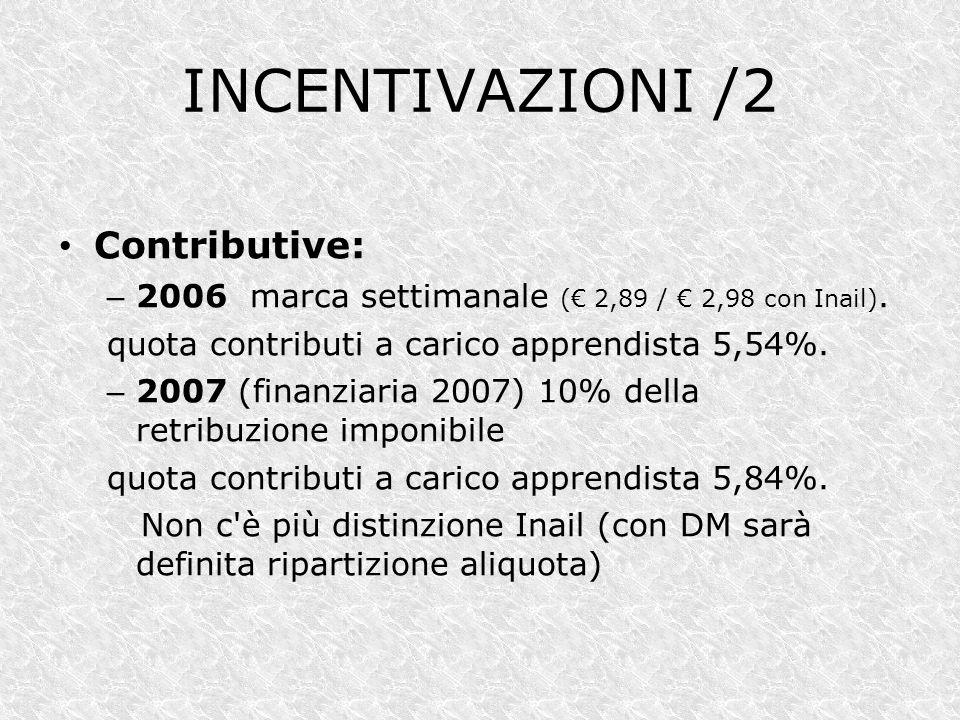 INCENTIVAZIONI /2 Contributive: