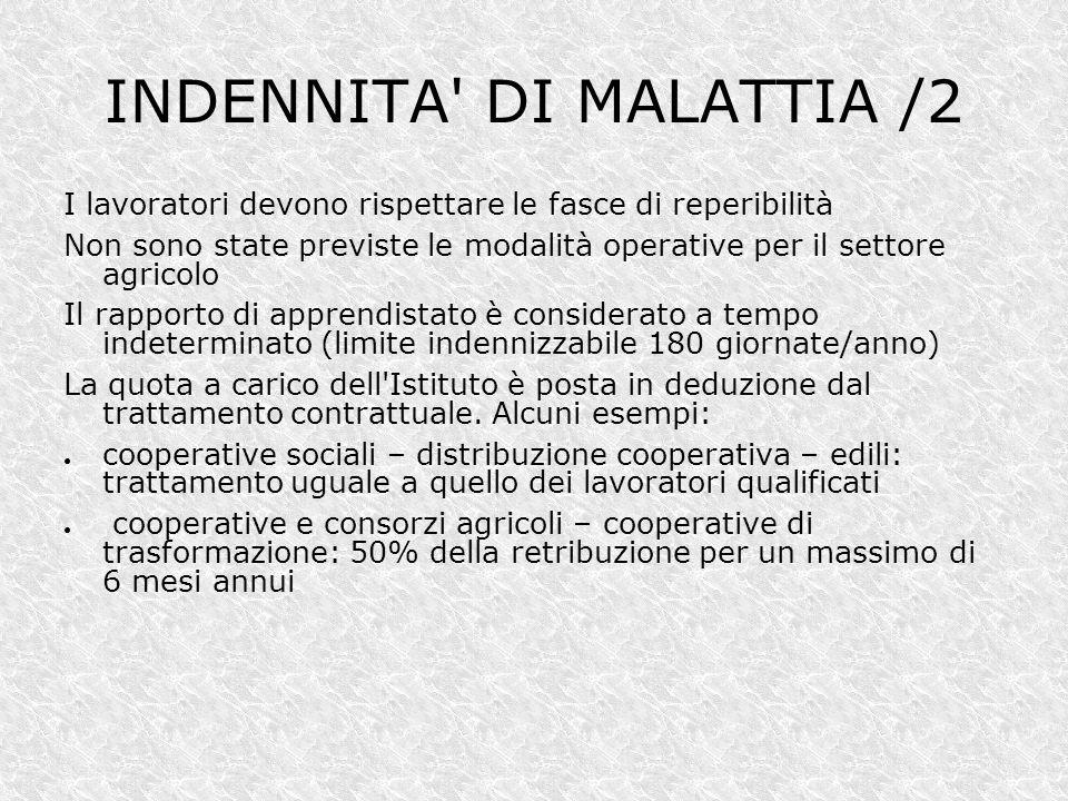 INDENNITA DI MALATTIA /2