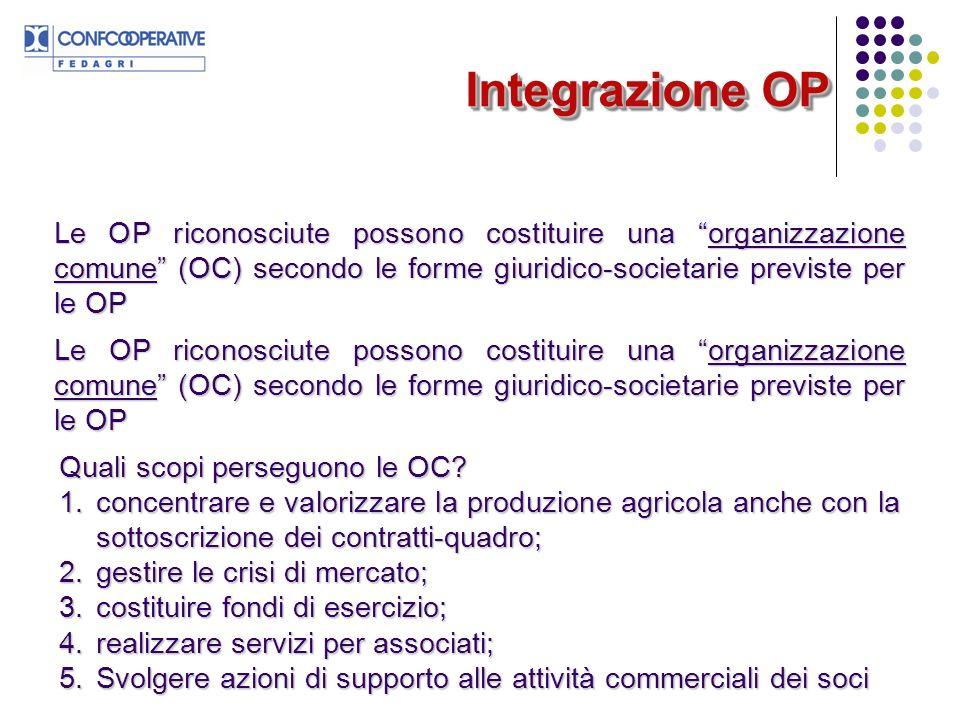 Integrazione OP Le OP riconosciute possono costituire una organizzazione comune (OC) secondo le forme giuridico-societarie previste per le OP.