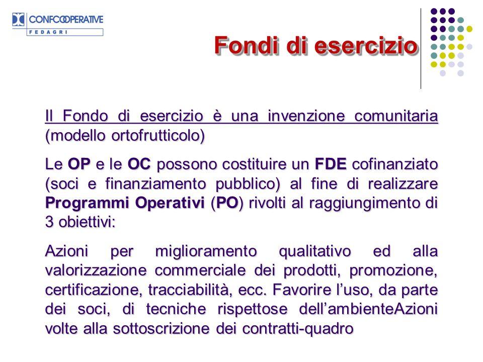 Fondi di esercizio Il Fondo di esercizio è una invenzione comunitaria (modello ortofrutticolo)