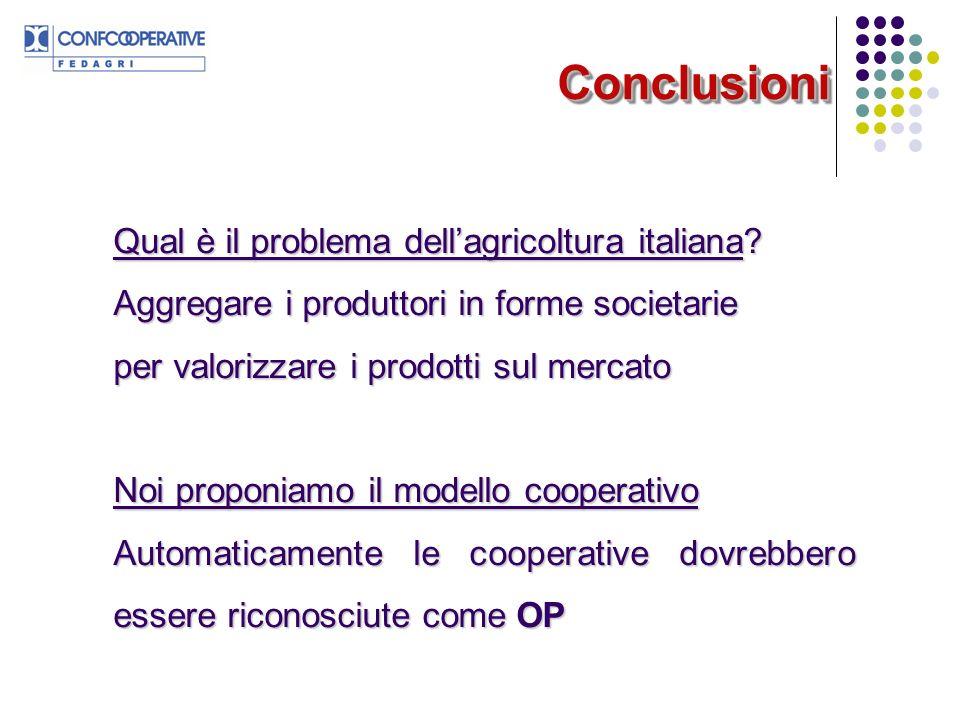 Conclusioni Qual è il problema dell'agricoltura italiana