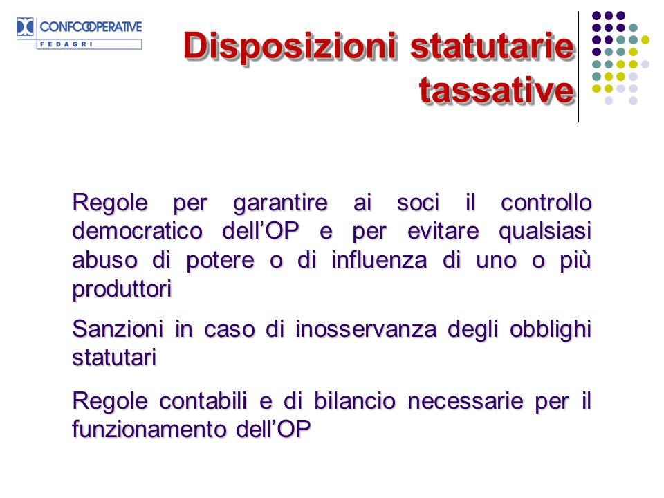 Disposizioni statutarie tassative
