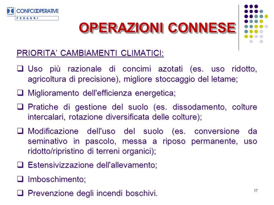 OPERAZIONI CONNESE PRIORITA' CAMBIAMENTI CLIMATICI: