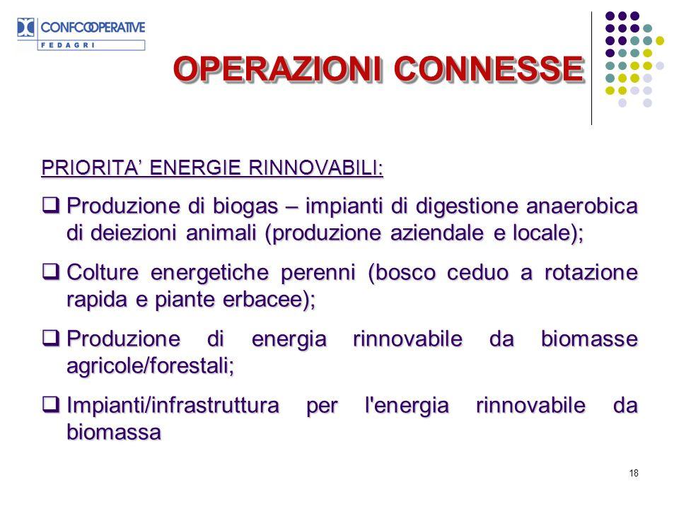 OPERAZIONI CONNESSE PRIORITA' ENERGIE RINNOVABILI: