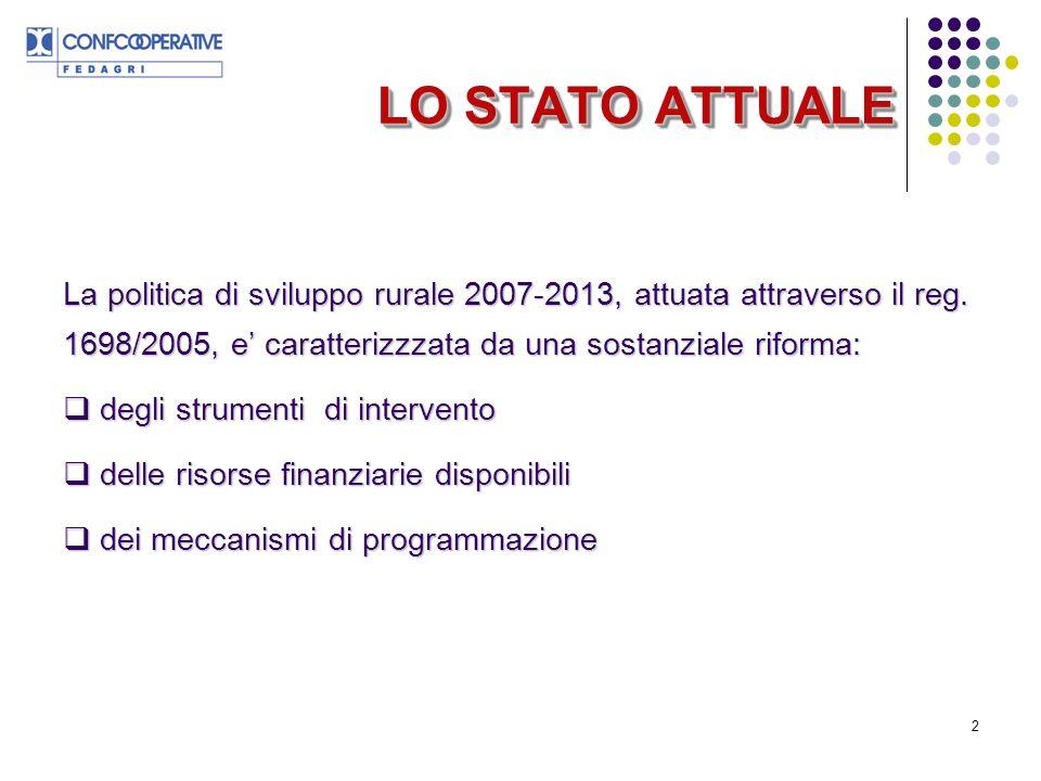 LO STATO ATTUALE La politica di sviluppo rurale 2007-2013, attuata attraverso il reg. 1698/2005, e' caratterizzzata da una sostanziale riforma: