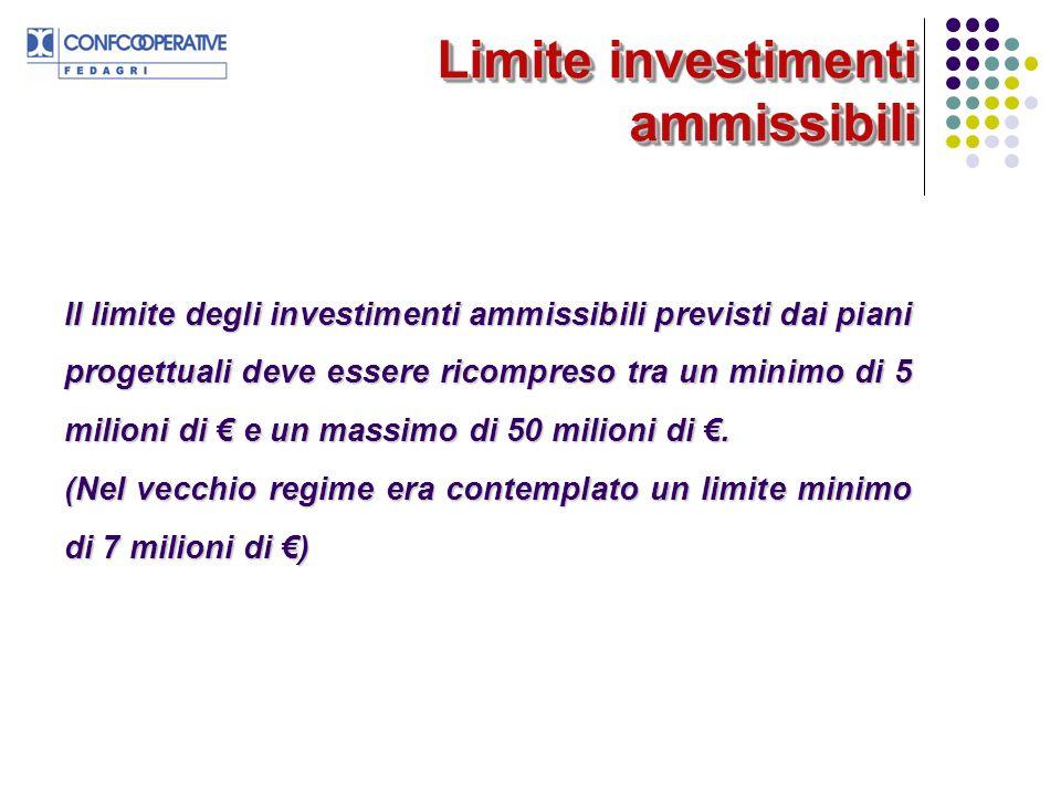 Limite investimenti ammissibili