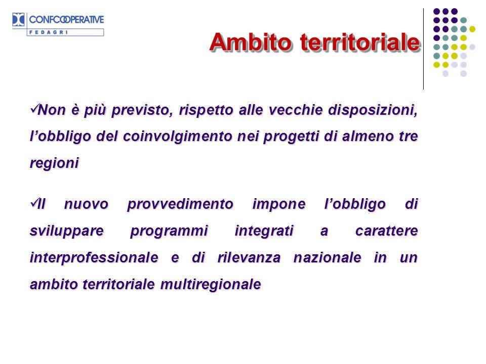 Ambito territoriale Non è più previsto, rispetto alle vecchie disposizioni, l'obbligo del coinvolgimento nei progetti di almeno tre regioni.