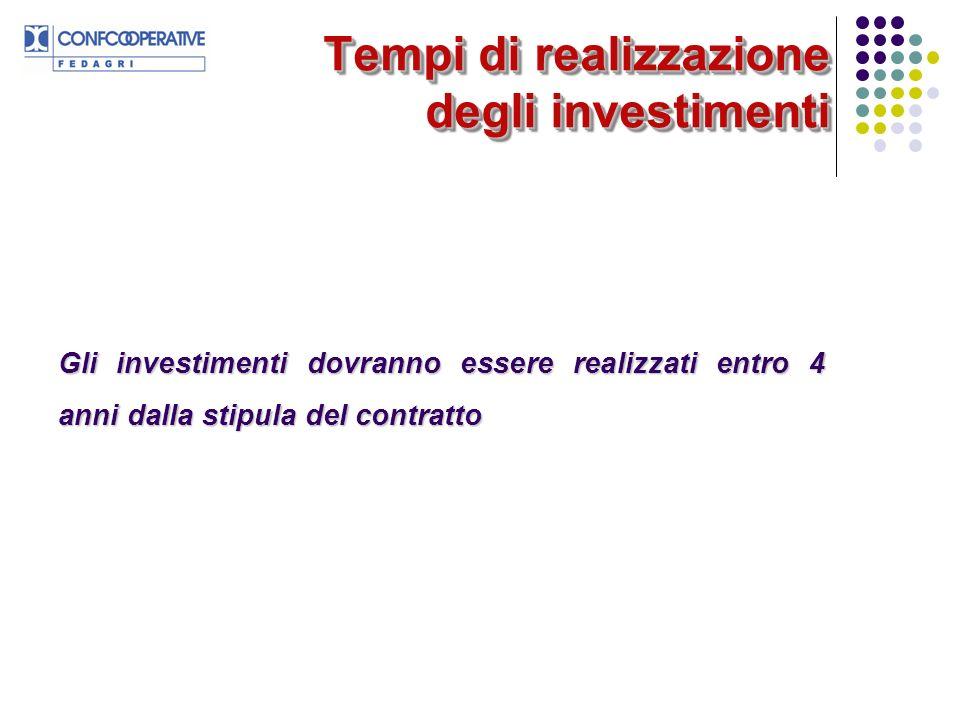 Tempi di realizzazione degli investimenti