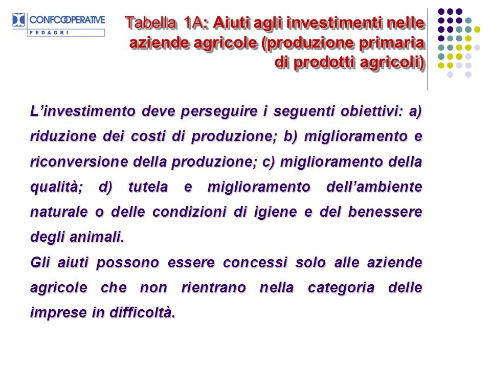 Tabella 1A: Aiuti agli investimenti nelle aziende agricole (produzione primaria di prodotti agricoli)