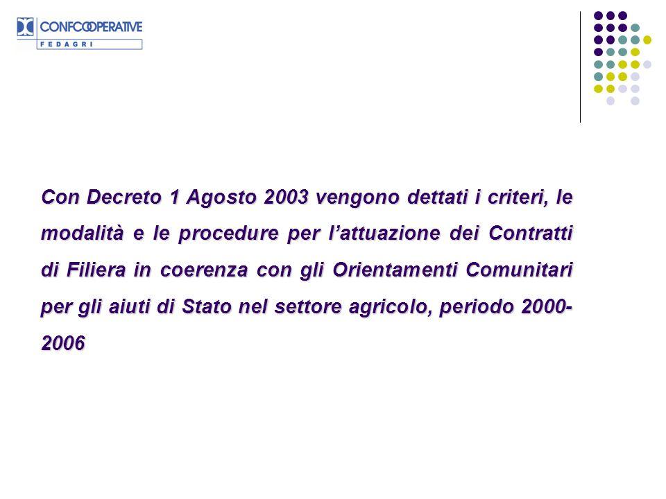Con Decreto 1 Agosto 2003 vengono dettati i criteri, le modalità e le procedure per l'attuazione dei Contratti di Filiera in coerenza con gli Orientamenti Comunitari per gli aiuti di Stato nel settore agricolo, periodo 2000-2006