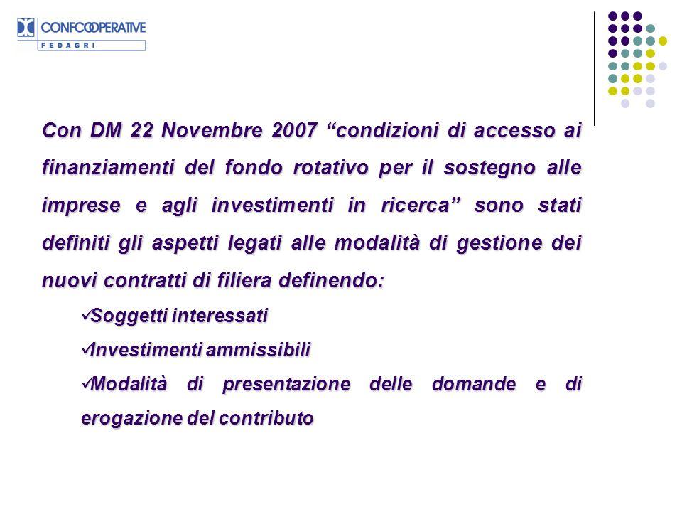 Con DM 22 Novembre 2007 condizioni di accesso ai finanziamenti del fondo rotativo per il sostegno alle imprese e agli investimenti in ricerca sono stati definiti gli aspetti legati alle modalità di gestione dei nuovi contratti di filiera definendo: