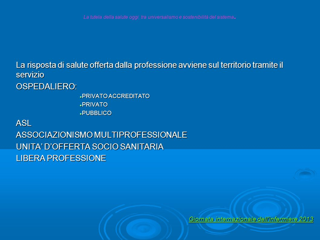 ASSOCIAZIONISMO MULTIPROFESSIONALE UNITA' D'OFFERTA SOCIO SANITARIA