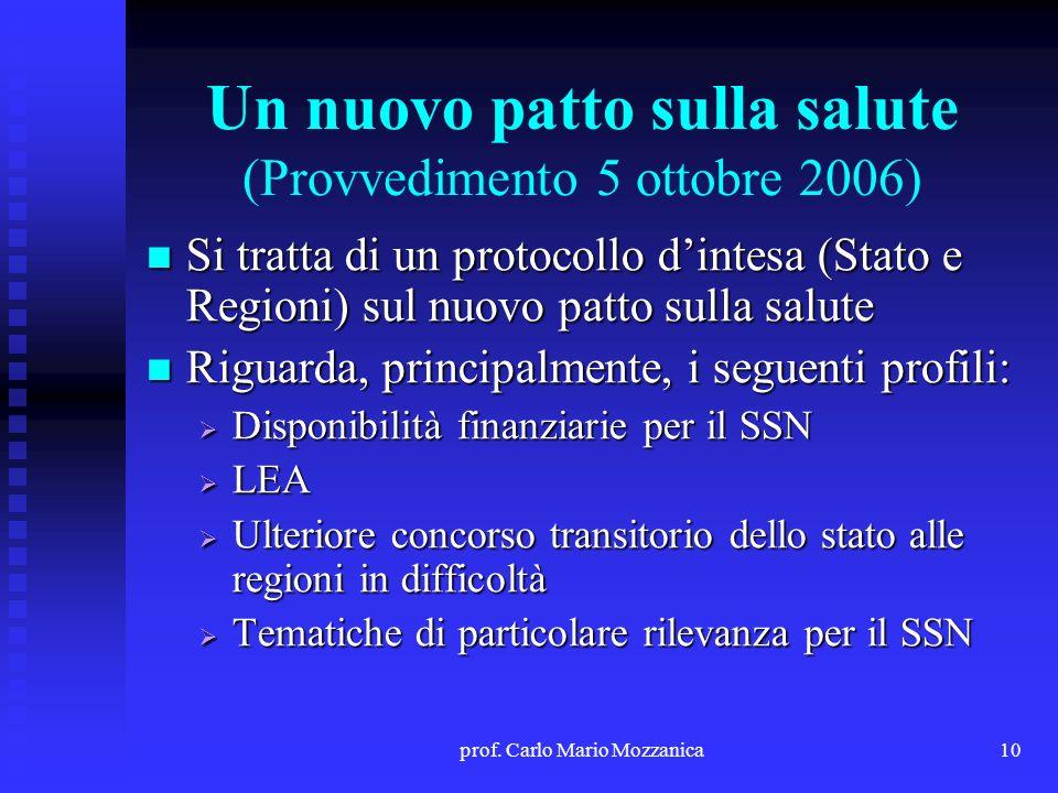 Un nuovo patto sulla salute (Provvedimento 5 ottobre 2006)