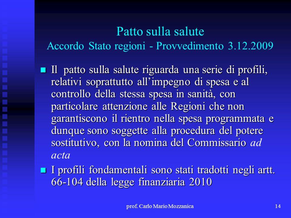 Patto sulla salute Accordo Stato regioni - Provvedimento 3.12.2009