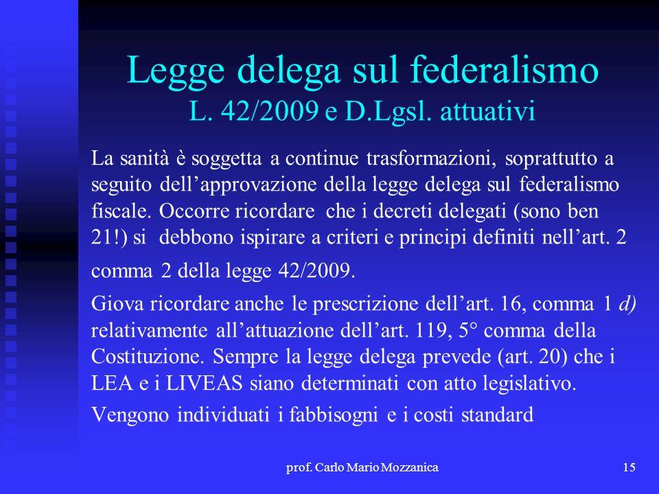 Legge delega sul federalismo L. 42/2009 e D.Lgsl. attuativi