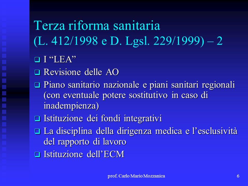 Terza riforma sanitaria (L. 412/1998 e D. Lgsl. 229/1999) – 2