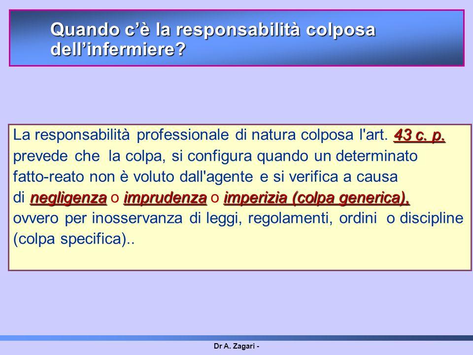 La responsabilità professionale di natura colposa l art. 43 c. p.