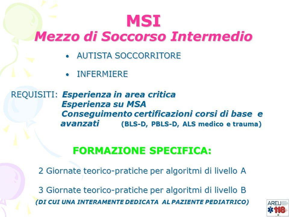 MSI Mezzo di Soccorso Intermedio FORMAZIONE SPECIFICA: