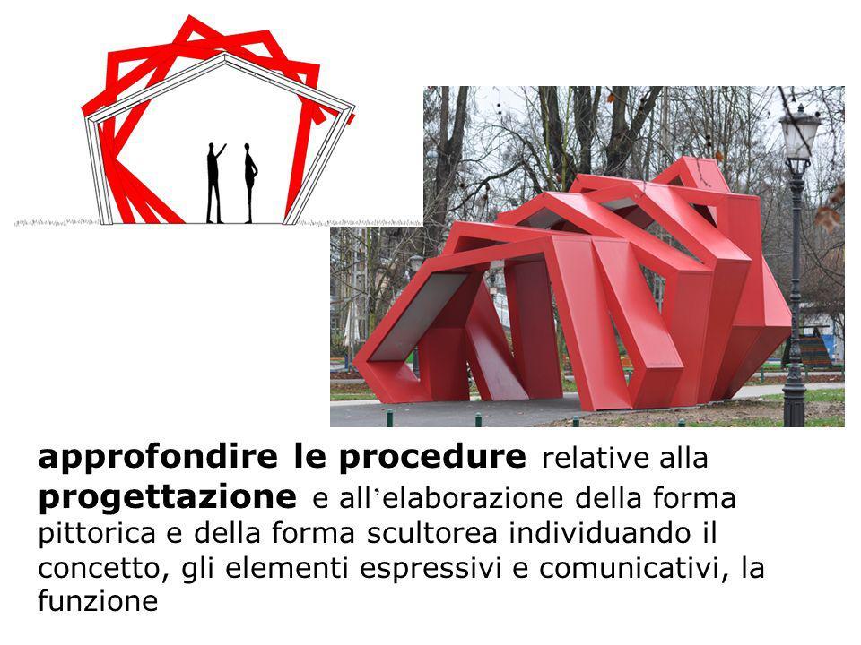 approfondire le procedure relative alla progettazione e all'elaborazione della forma pittorica e della forma scultorea individuando il concetto, gli elementi espressivi e comunicativi, la funzione