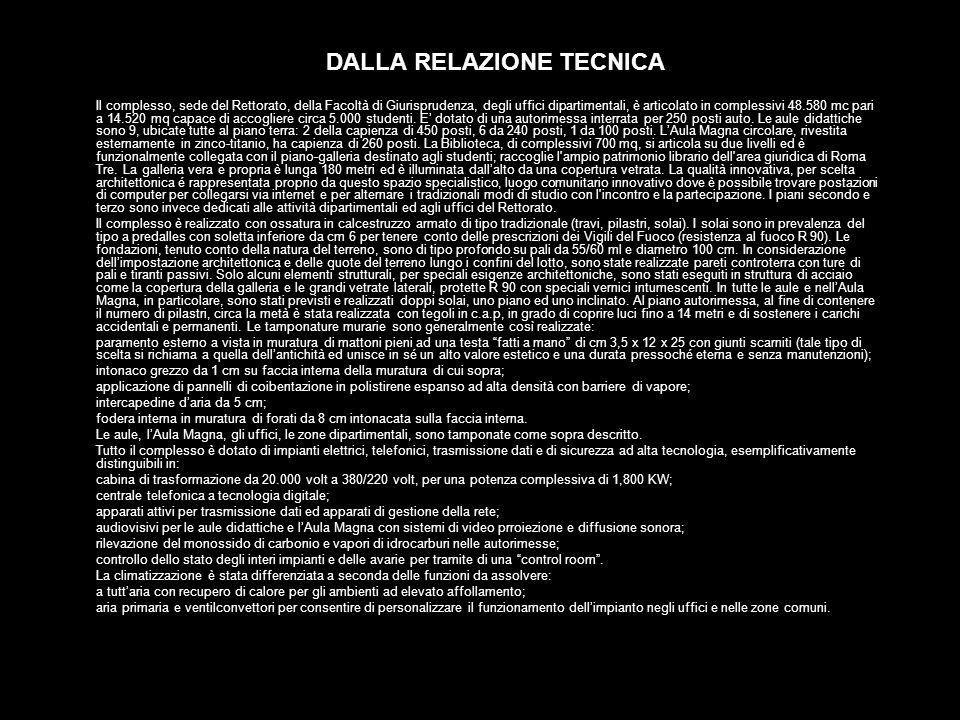DALLA RELAZIONE TECNICA