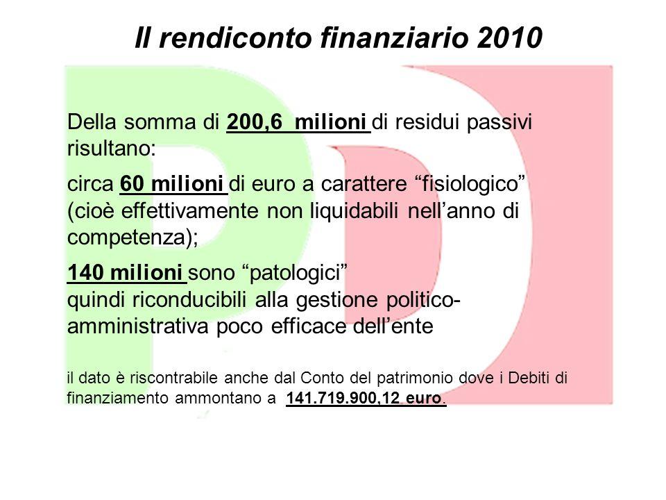 Il rendiconto finanziario 2010