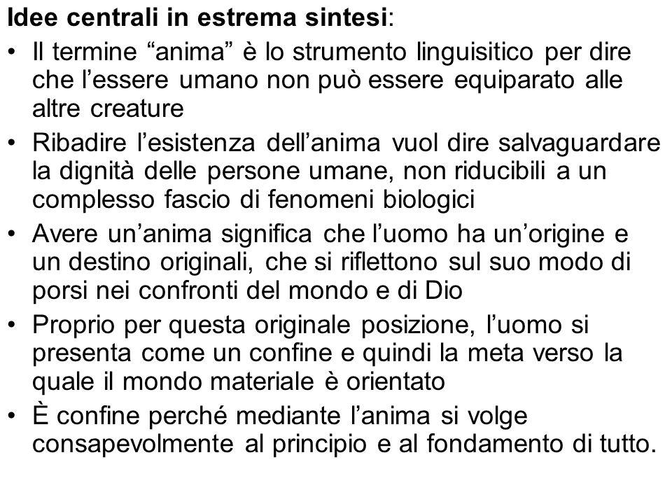 Idee centrali in estrema sintesi: