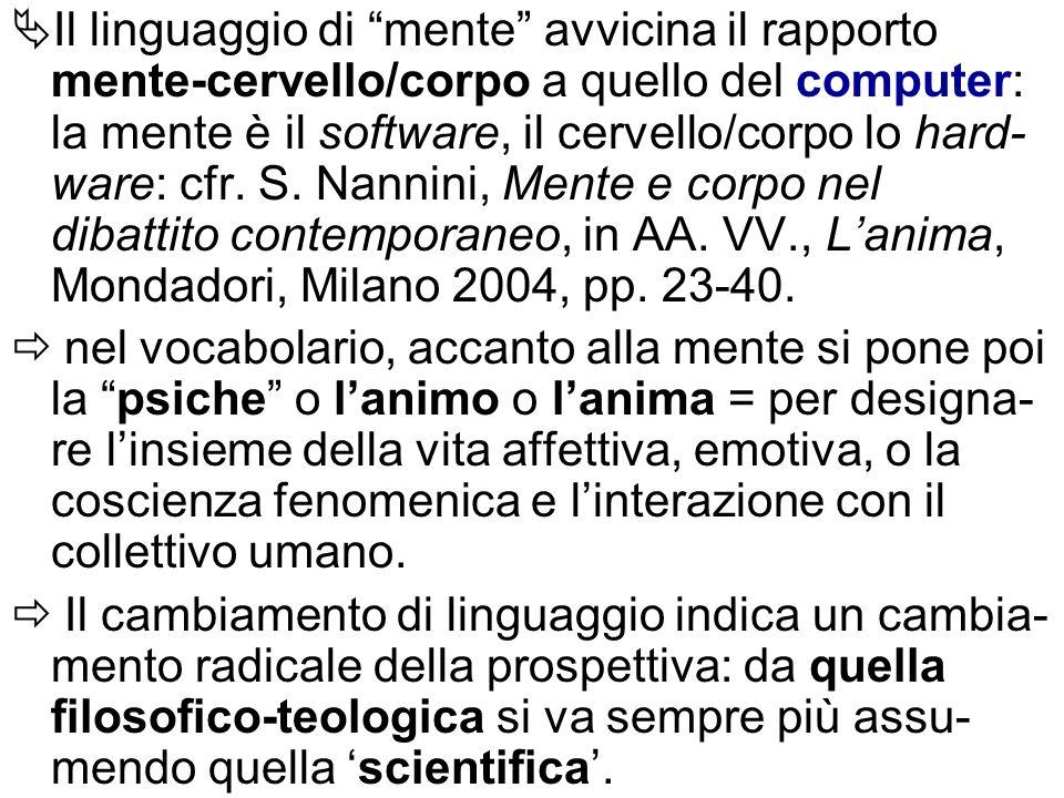 Il linguaggio di mente avvicina il rapporto mente-cervello/corpo a quello del computer: la mente è il software, il cervello/corpo lo hard-ware: cfr. S. Nannini, Mente e corpo nel dibattito contemporaneo, in AA. VV., L'anima, Mondadori, Milano 2004, pp. 23-40.