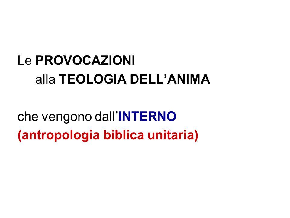 Le PROVOCAZIONI alla TEOLOGIA DELL'ANIMA che vengono dall'INTERNO (antropologia biblica unitaria)