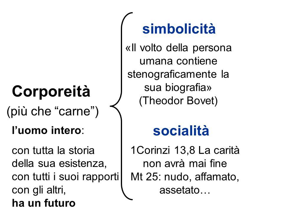 Corporeità simbolicità (più che carne ) socialità