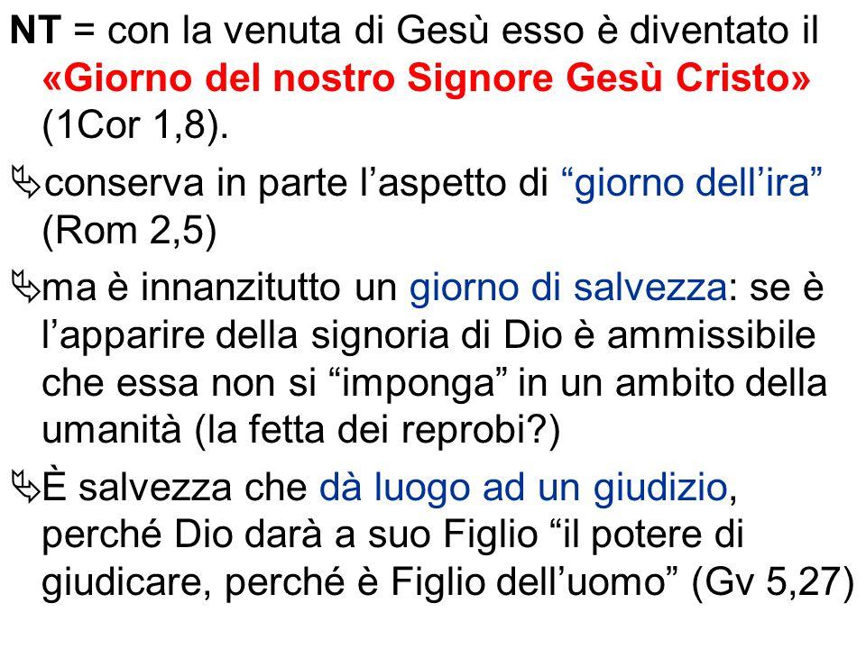 NT = con la venuta di Gesù esso è diventato il «Giorno del nostro Signore Gesù Cristo» (1Cor 1,8).
