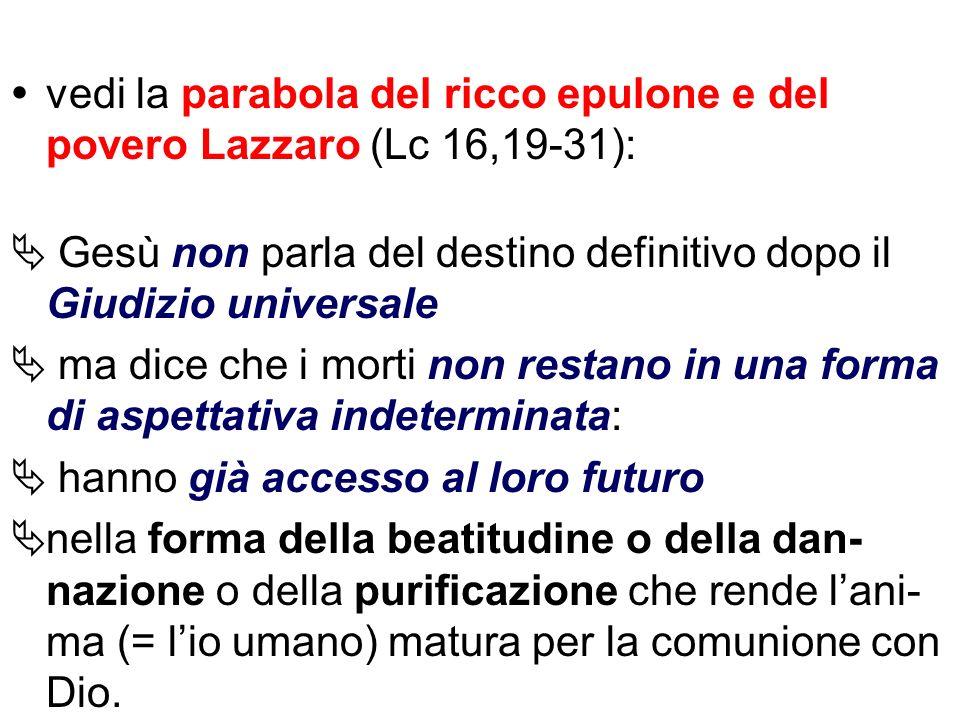 vedi la parabola del ricco epulone e del povero Lazzaro (Lc 16,19-31):