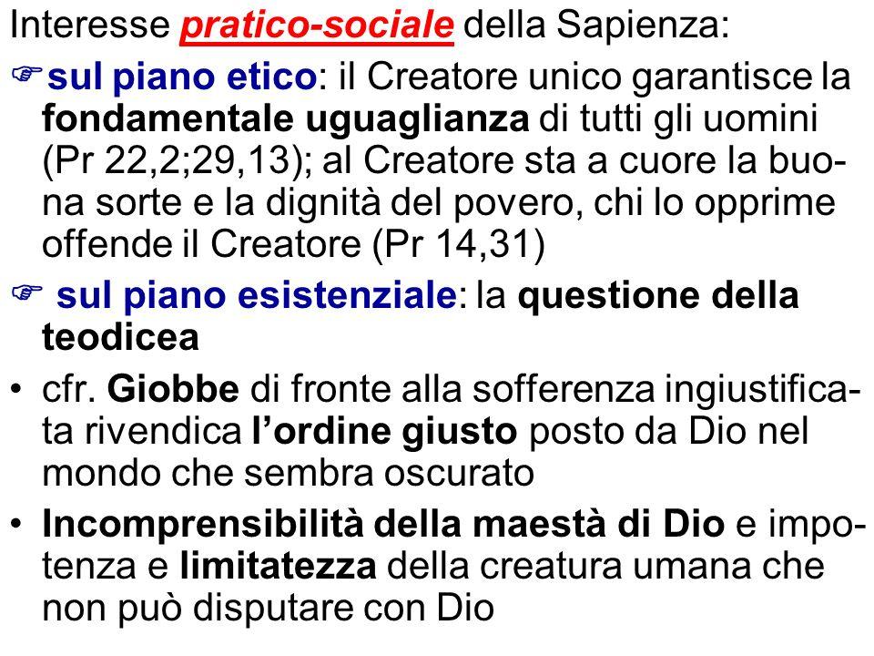 Interesse pratico-sociale della Sapienza: