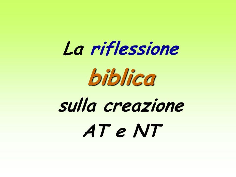 La riflessione biblica sulla creazione AT e NT