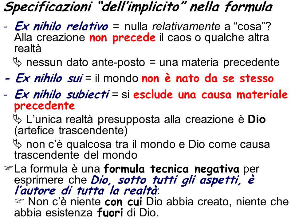 Specificazioni dell'implicito nella formula