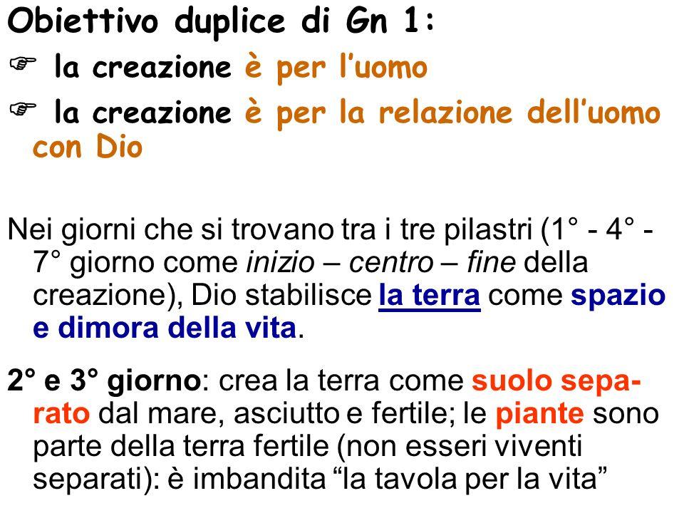 Obiettivo duplice di Gn 1:  la creazione è per l'uomo