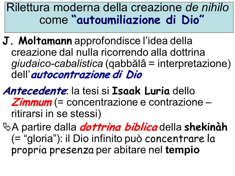 Rilettura moderna della creazione de nihilo come autoumiliazione di Dio
