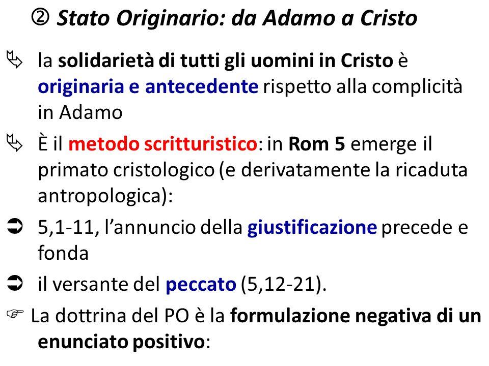  Stato Originario: da Adamo a Cristo