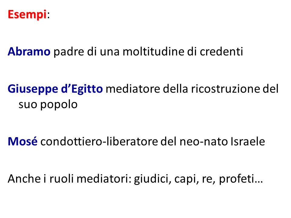 Esempi: Abramo padre di una moltitudine di credenti. Giuseppe d'Egitto mediatore della ricostruzione del suo popolo.