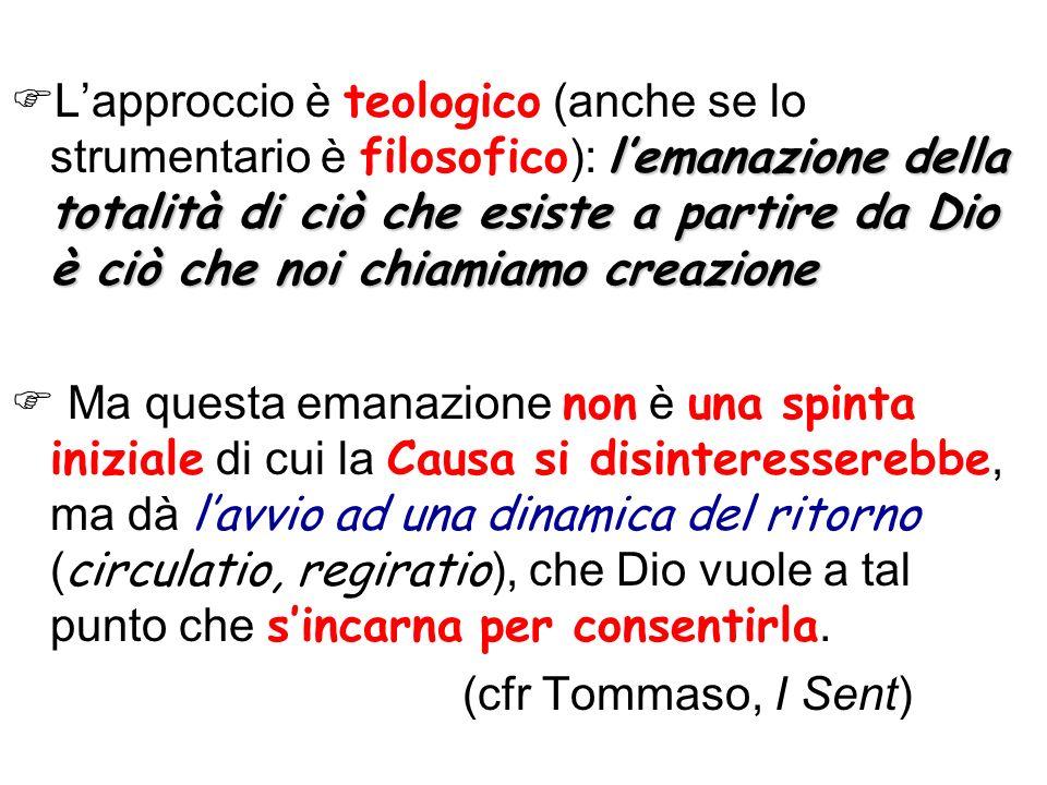 L'approccio è teologico (anche se lo strumentario è filosofico): l'emanazione della totalità di ciò che esiste a partire da Dio è ciò che noi chiamiamo creazione
